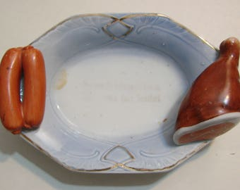 Antique Greman  Foot plate Ham and Sausage Bucher shop display Hotdog  plate  ceramic  from 1900