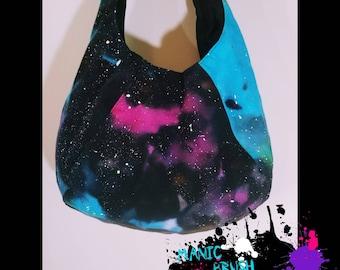 Canvas Hobo bag, Galaxy Hobo bag, Galaxy purse, tie dye Galaxy purse