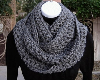 Infinity Scarf Loop Cowl, COLOR Options, Extra Long Skinny Solid Charcoal Grey Gray Soft Narrow Crochet Knit Winter, Ready to Ship in 3 Days