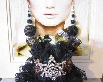 Black Lace Cuff, Tattered Cuff, Wedding Cuff, Boho Cuff, Lace Cuff.