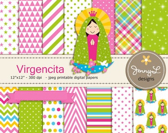Virgencita Digital papers, Virgin Mary clipart, Virgen Maria, Our Lady, for Communion, Baptism, Scrapbooking Papers
