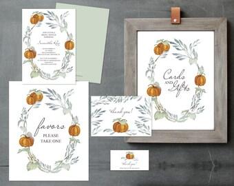 Pumpkin BRIDAL SHOWER BUNDLE, Instant Download, Edit Now Bridal Shower, Printable, Bridal Shower Decor, Bachelorette Party, Autumn Invite