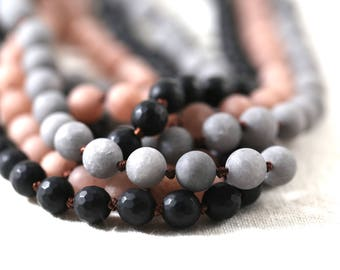Silk knotted necklace 30 inches you choose matte finish peach agate, grey agate, or faceted black onyx necklace add pendant