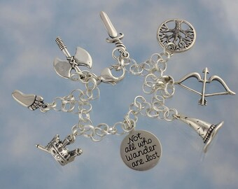 Luxury Epic Fantasy Characters Sterling Silver Charm Bracelet - Not All Who Wander are Lost - Wizard, Elf, Dwarf, King - Free Shipping USA