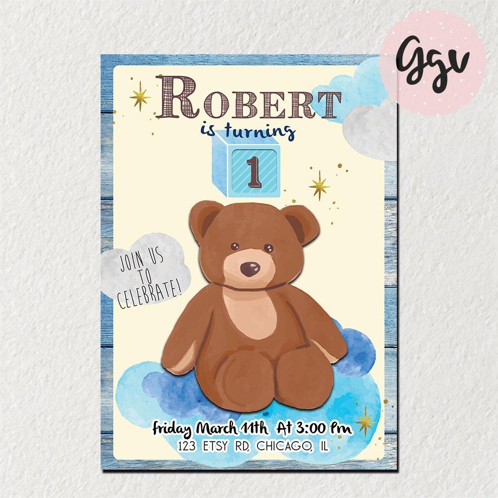 1st birthday invitation first birthday teddy bear teddy