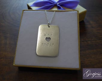 Silver Dog Tag Pendant - Personalised Dog Tag Necklace - Hand Stamped Dog Tag