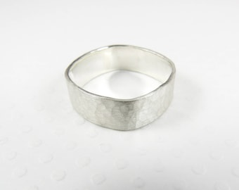 Wide Sterling Silver Ring, Hammered Silver Band, Wide Silver Band, Square Ring, Hammered Ring, Minimalist Silver Ring, Hand Forged Ring
