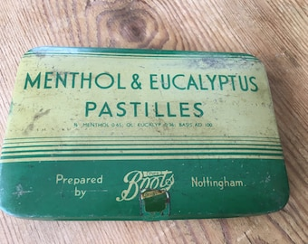 Vintage Tin - Menthol & Eucalyptus Pastilles by Boots