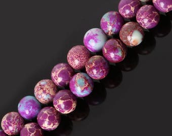 Beads semi precious stone 8 mm Jasper Imperial purple, set of 10