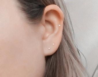 14k gold earrings 14 karat rose gold earrings 14k gold stud earrings Delicate stud earrings Tiny stud earrings Christmas gift