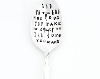 The Subway Poster Art Style Hand Stamped Spoons™ ORIGINAL Designs by Kelly Galanos for Sycamore Hill. Personalized TEASPOON with song lyrics