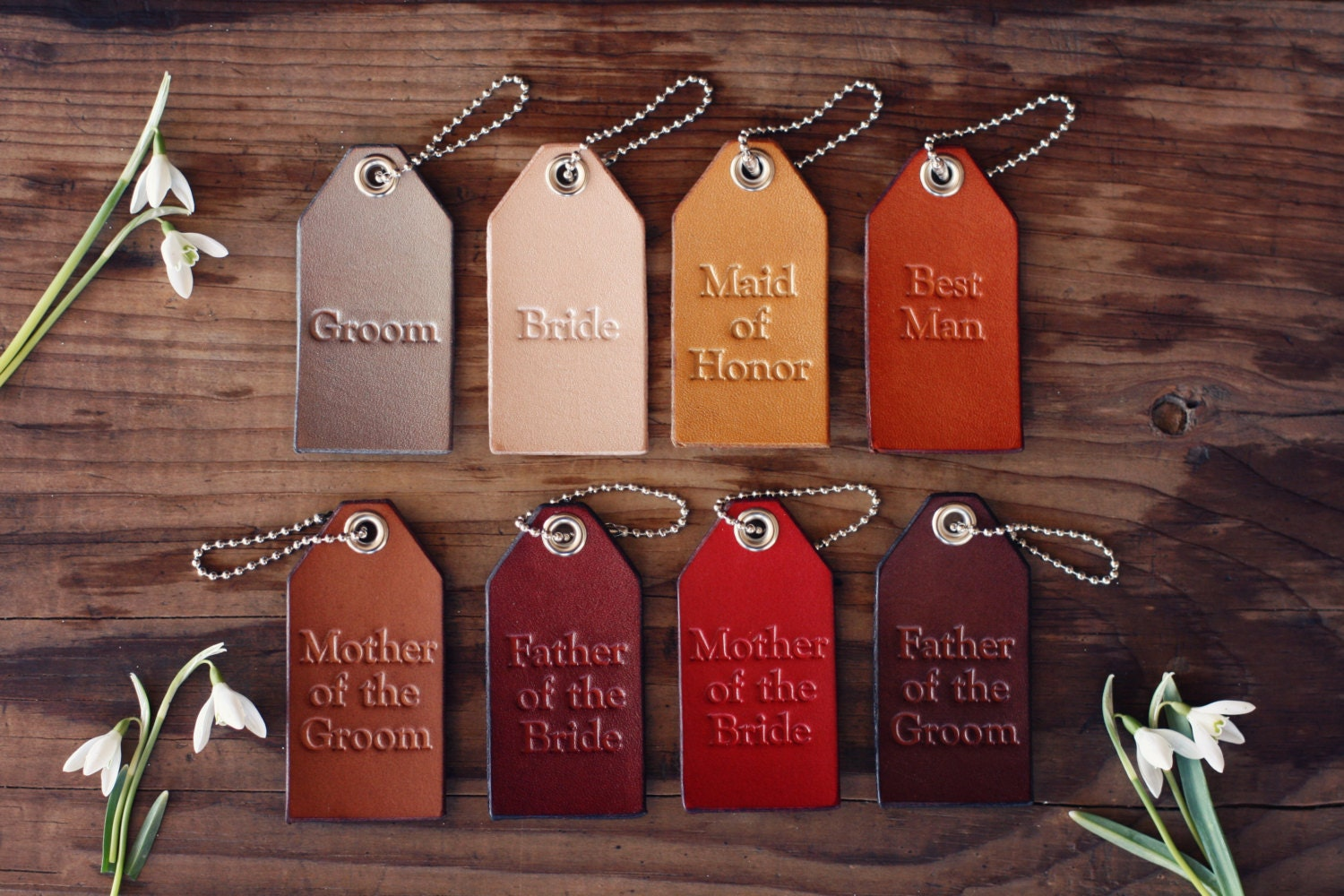 A set of 9 Wedding Favors Custom Personalized Leather Luggage Tags