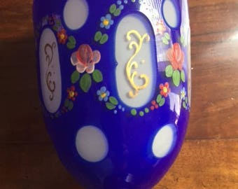 Pair of Handpainted Bohemian glass goblets glasses/cobalt blue