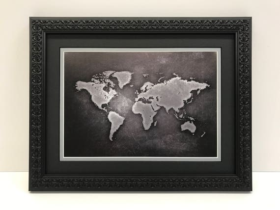 Framed world map world map art black gray world map gumiabroncs Image collections