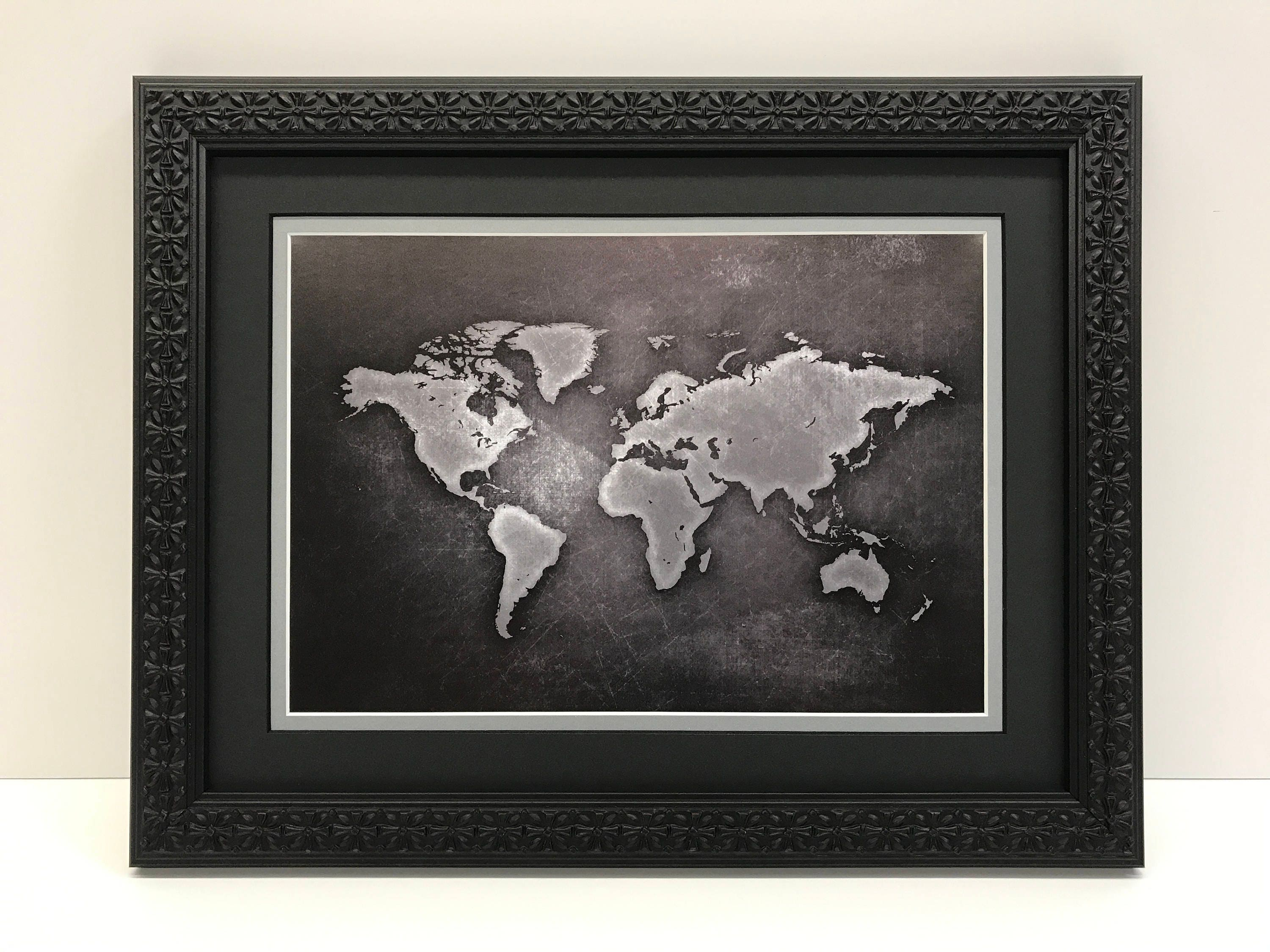 Framed world map world map art black gray world map description framed world map gumiabroncs Choice Image