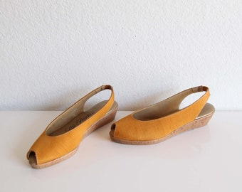 VINTAGE Sandals 1970s Wedge Heels Peeptoe Slingback Yellow Womens Shoes Size 6