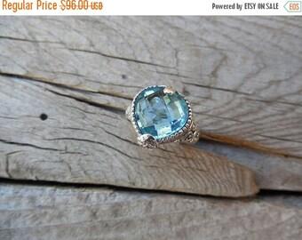 ON SALE Heart shape sky blue topaz ring handmade in sterling silver