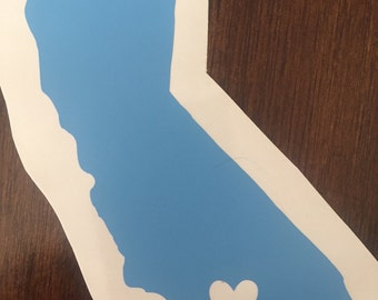 I Love LA    (California sticker/decal with heart over Los Angeles County)