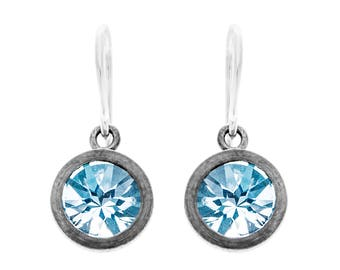 Blue topaz, sterling silver, drop earrings