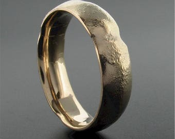 Mans wedding ring, rustic organic Burnt Cinder design, 18ct yellow gold 6mm court wedding band