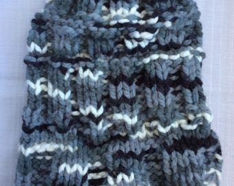 A Messy Bun Beanie Handknit Salt and Pepper Wool Acrylic Blend