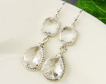 Clear Crystal Earrings - Clear Silver Drop Earrings - Bridesmaid Earrings - Wedding Jewelry - Bridal Jewelry