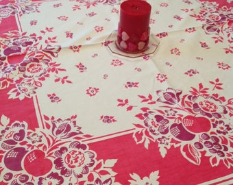Red and maroon tablecloth