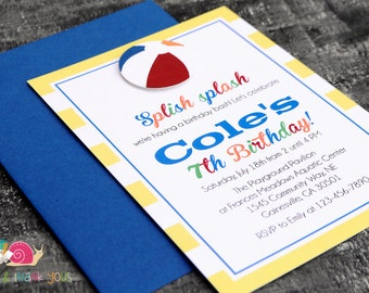 Beach Ball Invitations · A6 FLAT · Blue and Yellow Stripes · Birthday Party | Baby Shower | Pool Party | Summer