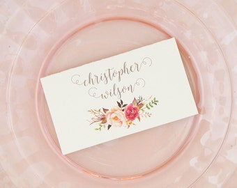 Pink Rose Place Cards with printed guest names - Rustic Romantic Escort Cards - Rustic Wedding Place Cards - Calligraphy Font Escort Cards