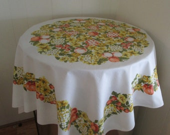Vintage Tablecloth, Fruit And Flower Retro Tablecloth, Tablecloths, Vintage Cotton Tablecloth, Vintage Table Linens, Retro Table Linens
