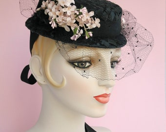 Eliza Black Straw Boater with Vintage Veil, Straw Hat, Millinery