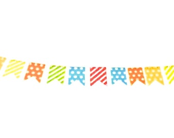 Bunting Washi Tape with Dots and Stripes, Banner Washi Tape, Washi Tape, Planner Washi, Planner Tape, Scrapbook Supplies