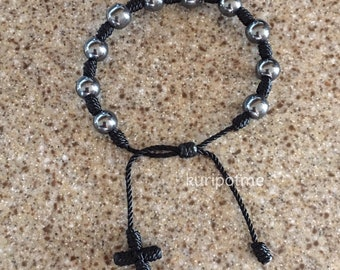 Hematite Knotted Rosary Bracelet - made to order