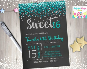 Sweet 16 birthday party invitation Invite Sweet Sixteen Party Printable Invitation Silver teal