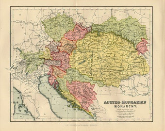 Large Map of Austrian Empire 1890 atlas antique map Hungary