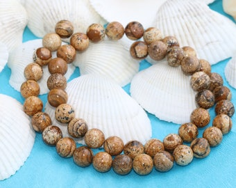 8mm Picture Jasper Beads, 8mm, Natural Beads, Gemstones,Full Strand (48Pieces), MRY91