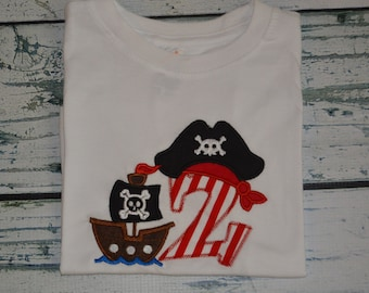 PERSONALIZED Pirate Birthday Pirate Ship Shirt  Monogrammed