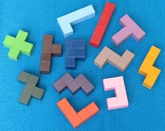 Pentomino Puzzle, 2cm wooden cubes, 12 wooden pieces