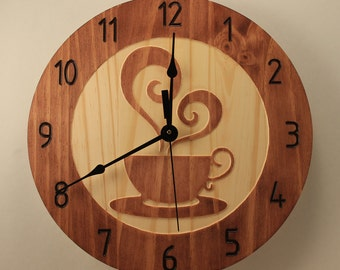 Pine Coffee cup clock Teacup clock Wood clock Wall clock Wooden wall clock Home clock Decorative clock Kitchen decor Hot beverages Cooking