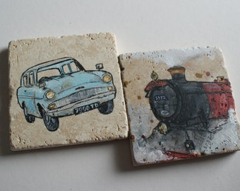 Harry Potter Inspired Set of 2 Hand Painted Stone Drinks Coasters: Ford Anglia and Hogwarts Express