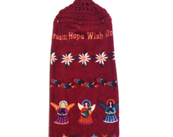 Dream Hope Wish Angels Hand Towel With Claret Crocheted Top
