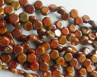Hodge Podge Honeycomb Orange Nebula, Hex 2-Hole Beads Czech Glass 6mm, 699994-15001 30 beads