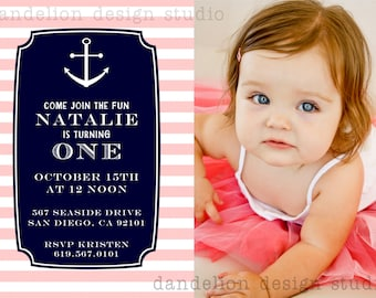 PRINTABLE Photo Invitation - One Photo Invite - Pink & Navy Nautical Party Collection - Dandelion Design Studio