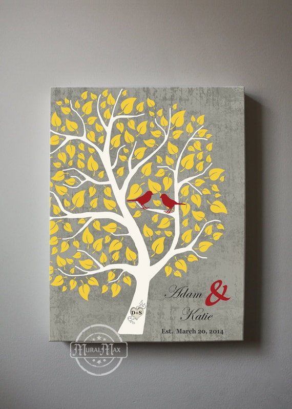 Couples Wedding Tree Canvas Wall Art Personalized with Names
