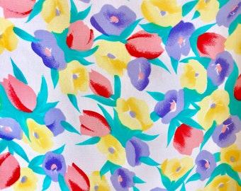 Rainbow Tulip Blouse / Vintage Colorful Floral Top / Boxy Vintage Blouse / Happy Tulip Print