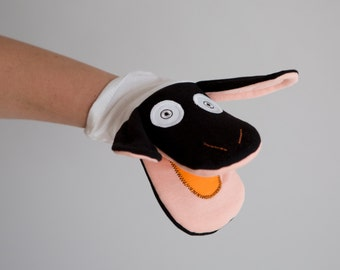 Sheep  - Hand puppet black and white ,nursery rhyme farm animal, great for Christmas gift,