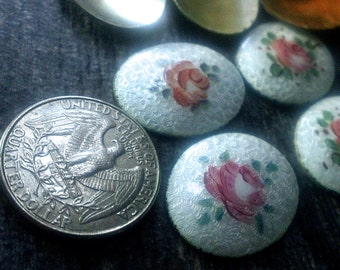 Vintage Handpainted Guilloche French Enamel Rose Medallions , Pr of Enamel Cabochon for Jewelry Making, Earring Fronts, rings