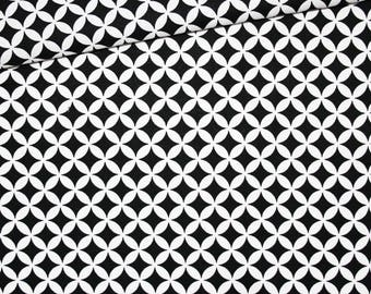 Argyle, 100% cotton fabric printed 50 x 160 cm, clover pattern black and white