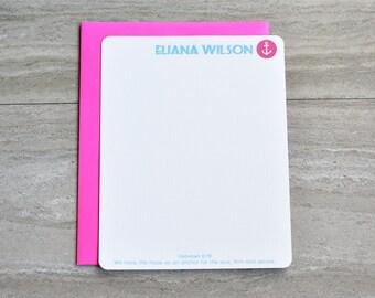 Personalized Christian Stationery Set | Flat Note Card |  Scripture Stationery | Monogram Seaside Anchor Pink Nautical | Set of 12+Envelopes