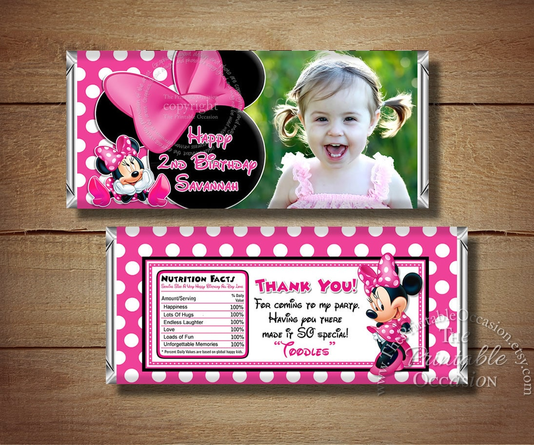 Printable Minnie Mouse Birthday Candy Bar Wrapper Pink Polka